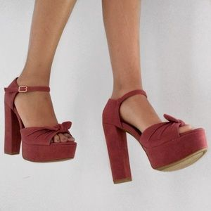 BAMBOO Shoes - Salmon Pink Bamboo Thick Heel Ankle Strap Heels!!!